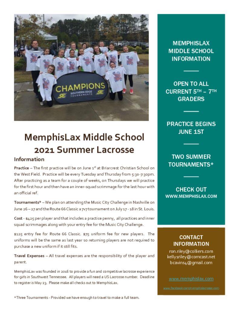 thumbnail of MemphisLax Middle School 2021 Flier